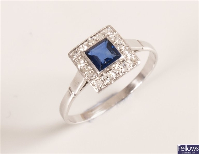 Early 20th century square cut sapphire and