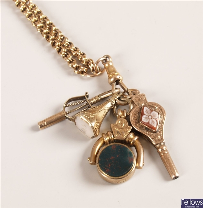 15ct gold fancy belcher link chain with two watch