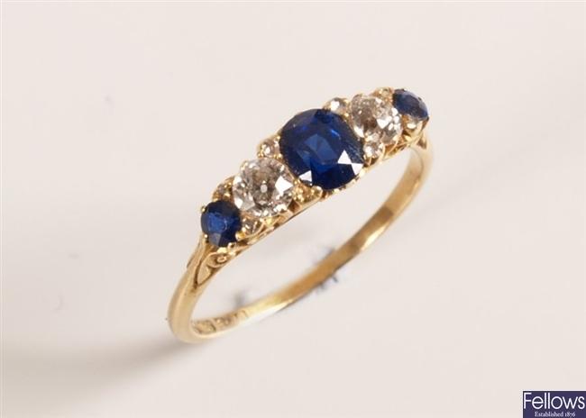 Edwardian 18ct gold five stone diamond and