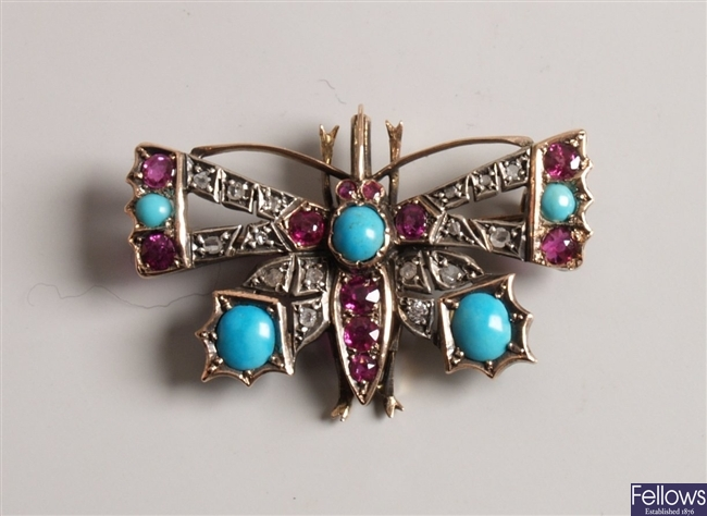 Diamond, ruby and turquoise butterfly brooch with