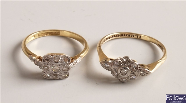 Two 18ct gold and platinum mounted diamond