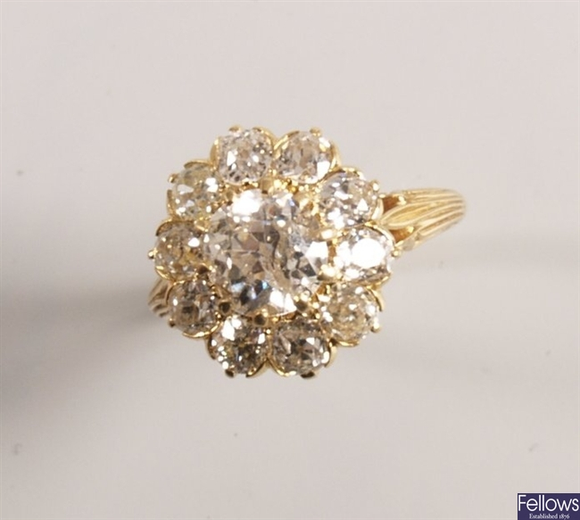 Victorian diamond cluster ring set eleven old