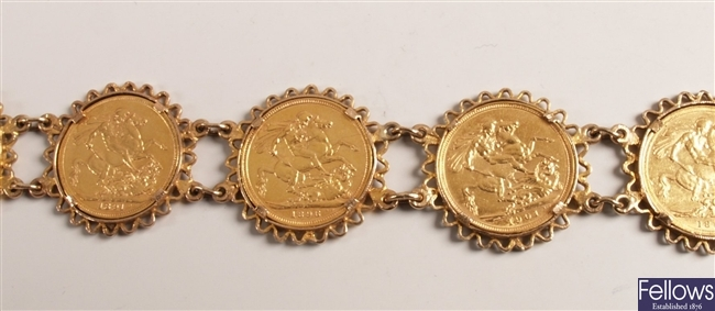 A bracelet set with six sovereigns (1888 (x2),