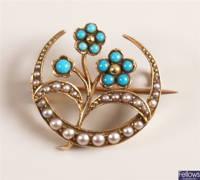Ornate seed pearl and turquoise set crescent and
