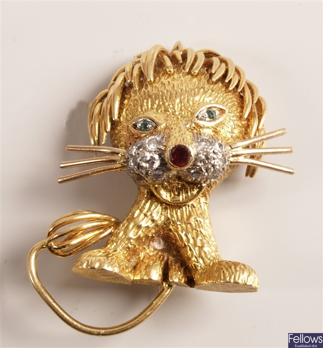 Kutchinsky - 18ct gold lion design brooch with