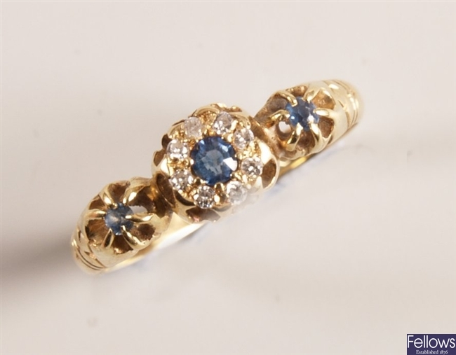 Victorian 18ct gold sapphire and old cut diamond