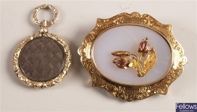 Two items of mourning jewellery, to include an