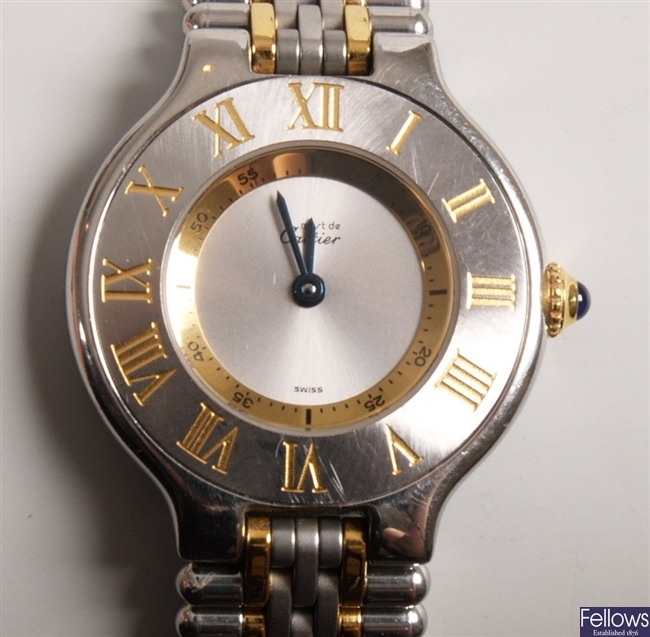 CARTIER - a ladies 18ct gold and steel