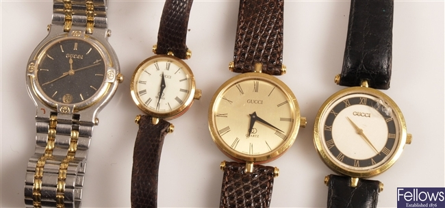GUCCI - eight ladies and gentleman's watches to