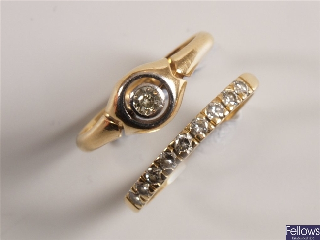 Two rings to include an 18ct gold single stone