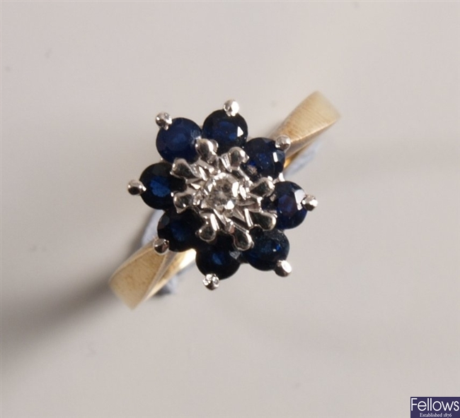 9ct gold sapphire and diamond cluster ring with