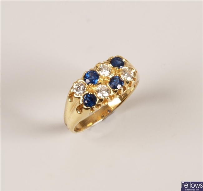 18ct gold sapphire and diamond set ring, with two