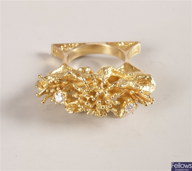 18k cocktail ring of an upstanding branch design