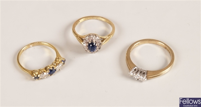Three rings, to include a 9ct gold cabochon