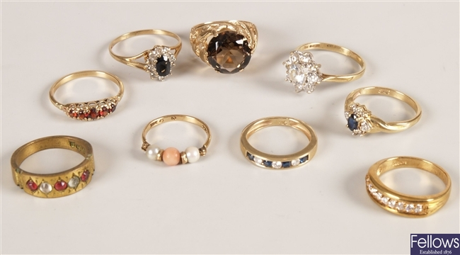 A collection of dress rings, to include a 9ct