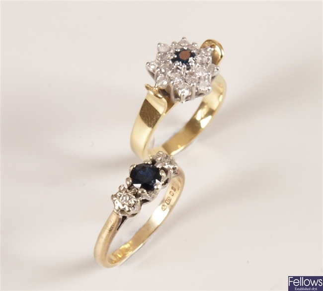 Two rings to include an 18ct gold sapphire and