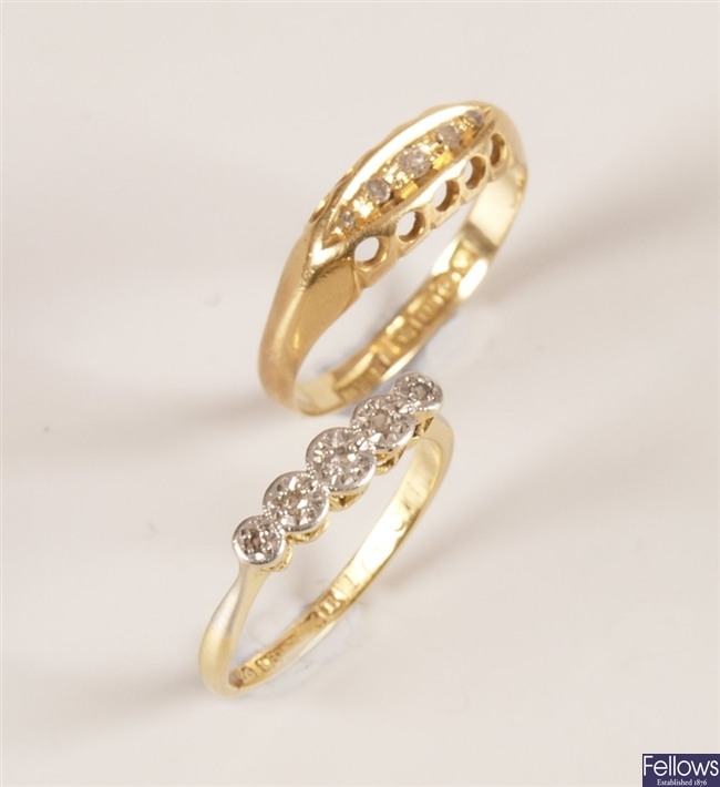 Two rings, to include a 18ct gold five stone