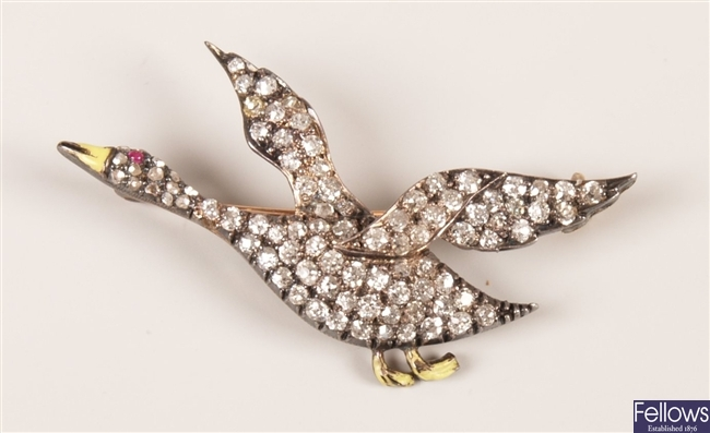 Early 20th Century diamond set duck design