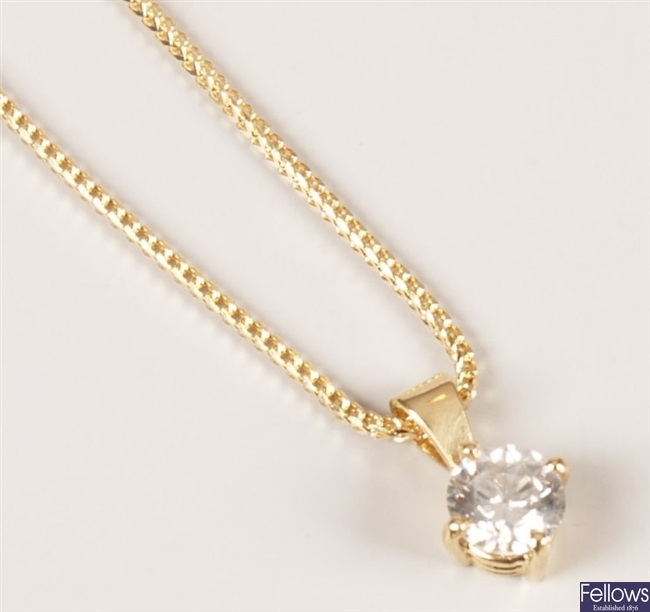 18ct gold single stone diamond pendant set a