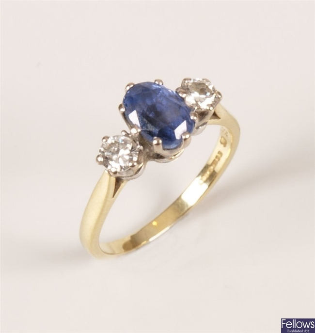 18ct gold three stone sapphire and diamond ring
