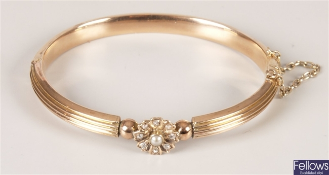 Diamond and seed pearl hollow hinged bangle with