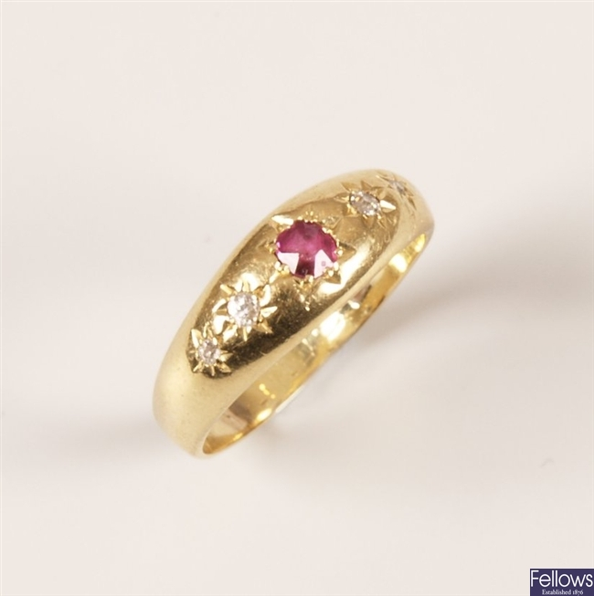18ct gold ruby and old cut diamond five stone