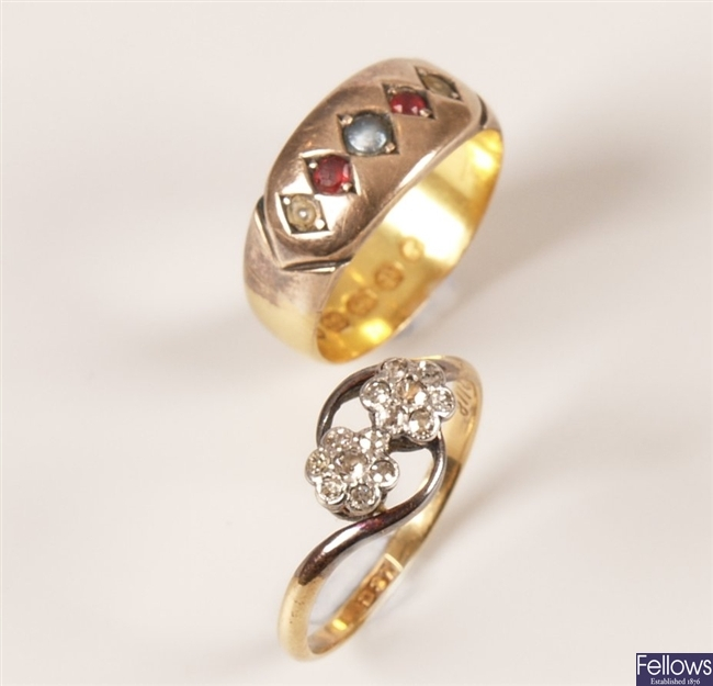 Two rings to include an 18ct gold all diamond