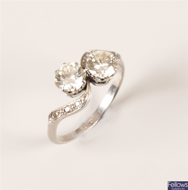 Platinum mounted two stone diamond ring, the