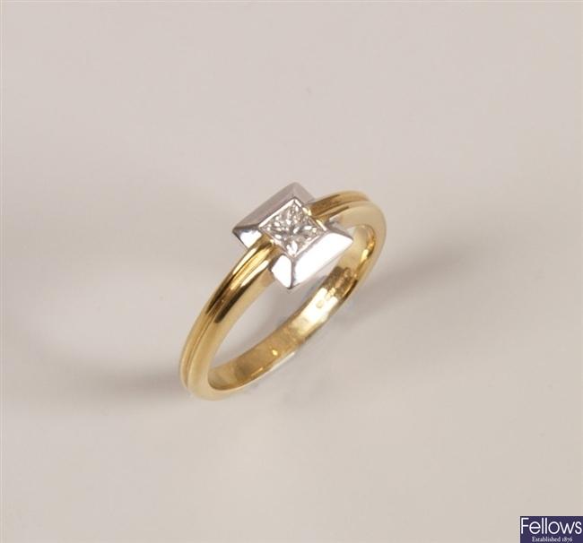 18ct yellow and white gold single stone diamond