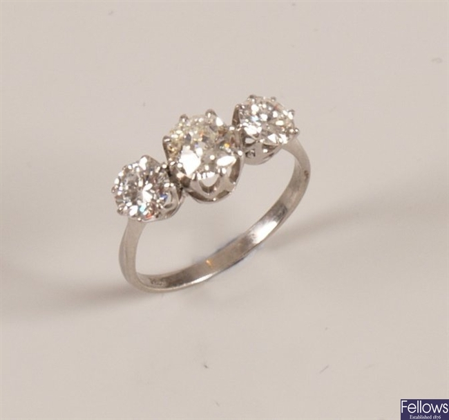 Platinum three stone ring, with a central old