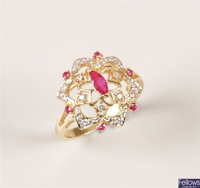 Stuart Devlin - 14k gold ruby and diamond set