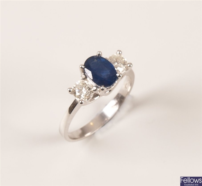 18ct white gold claw set blue sapphire and