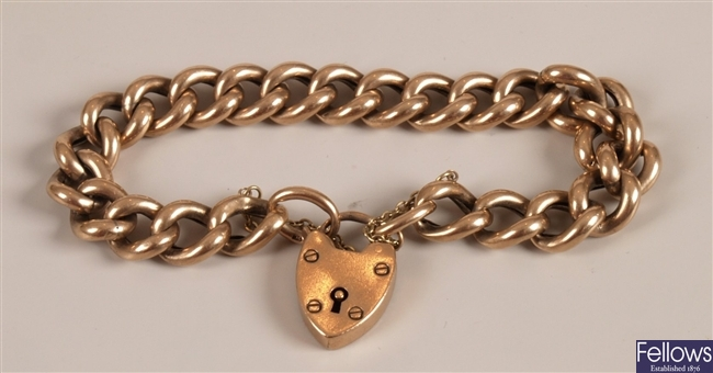 Victorian 9ct rose gold hollow curb bracelet with