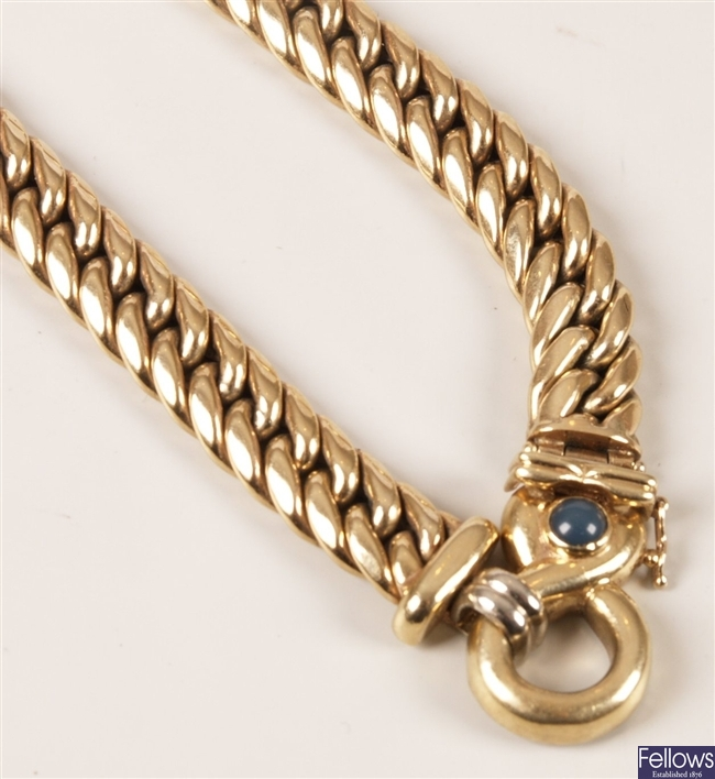9ct yellow gold hollow curb link necklace with