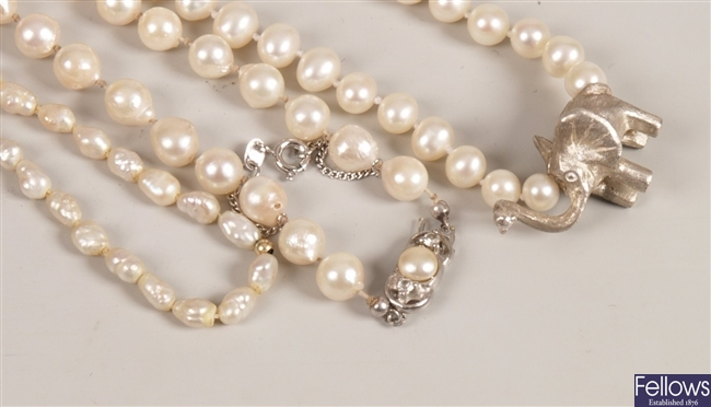 Three pearl necklaces to include a baroque pearl