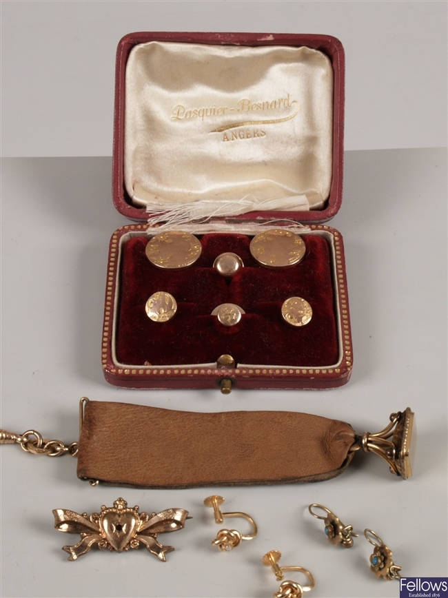 A small collection of items, to include a cased