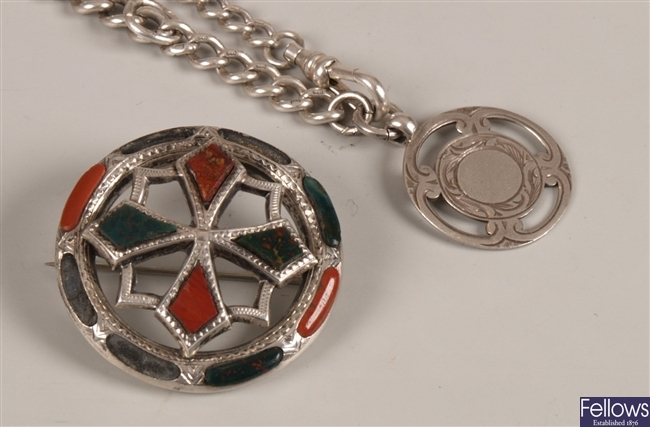 Two items, to include a Scottish pebble brooch,
