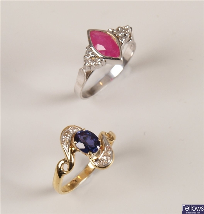 Two rings to include an 18ct white gold ruby and