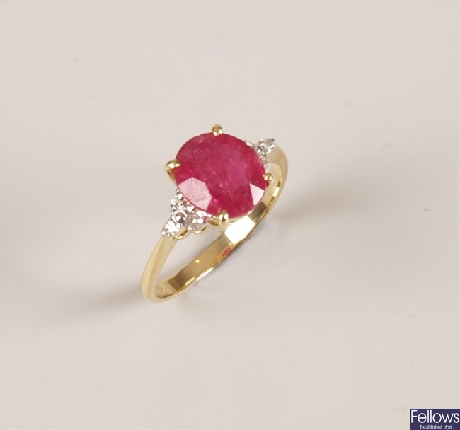 18ct gold ruby and diamond ring with a central