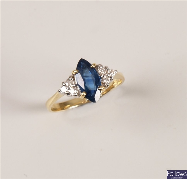 18ct gold sapphire and diamond ring with a