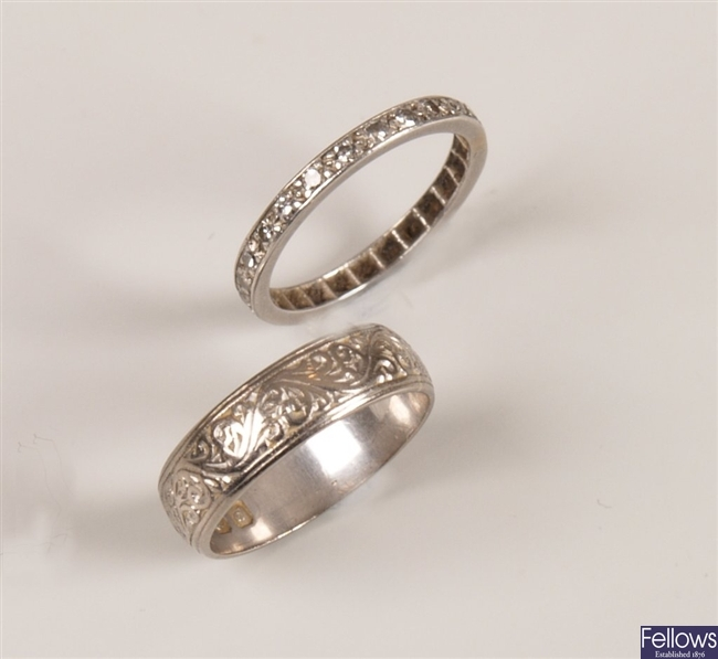 Two rings, to include an 18ct white gold wedding