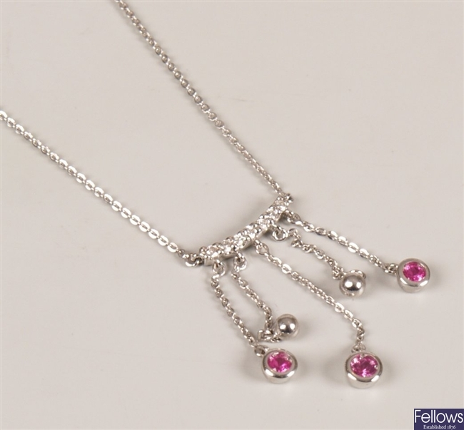 18ct white gold pink sapphire necklet, a central