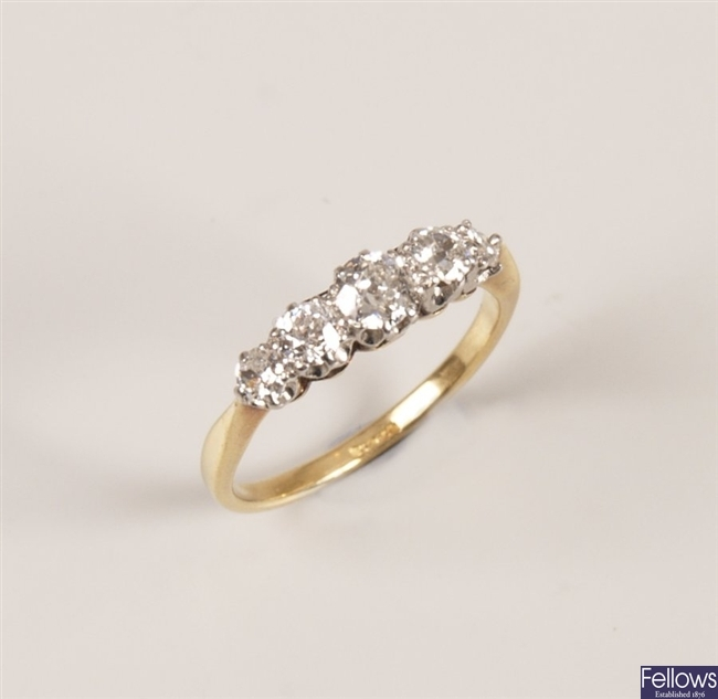 18ct gold claw set five stone graduated diamond