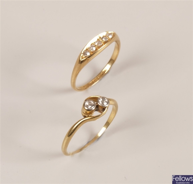 Two 18ct gold rings to include an Edwardian five