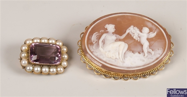 Two brooches to include a 9ct gold set cameo