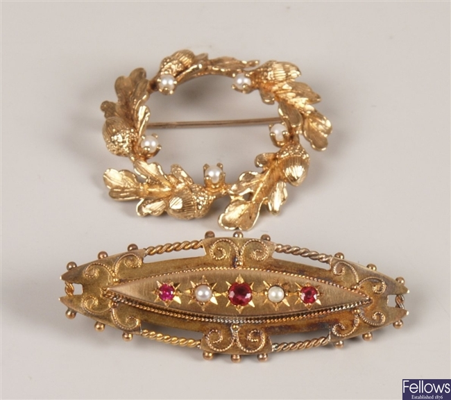 Edwardian 9ct gold ruby and seed pearl brooch