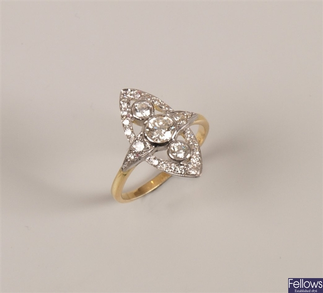 18ct gold round brilliant diamond up the finger