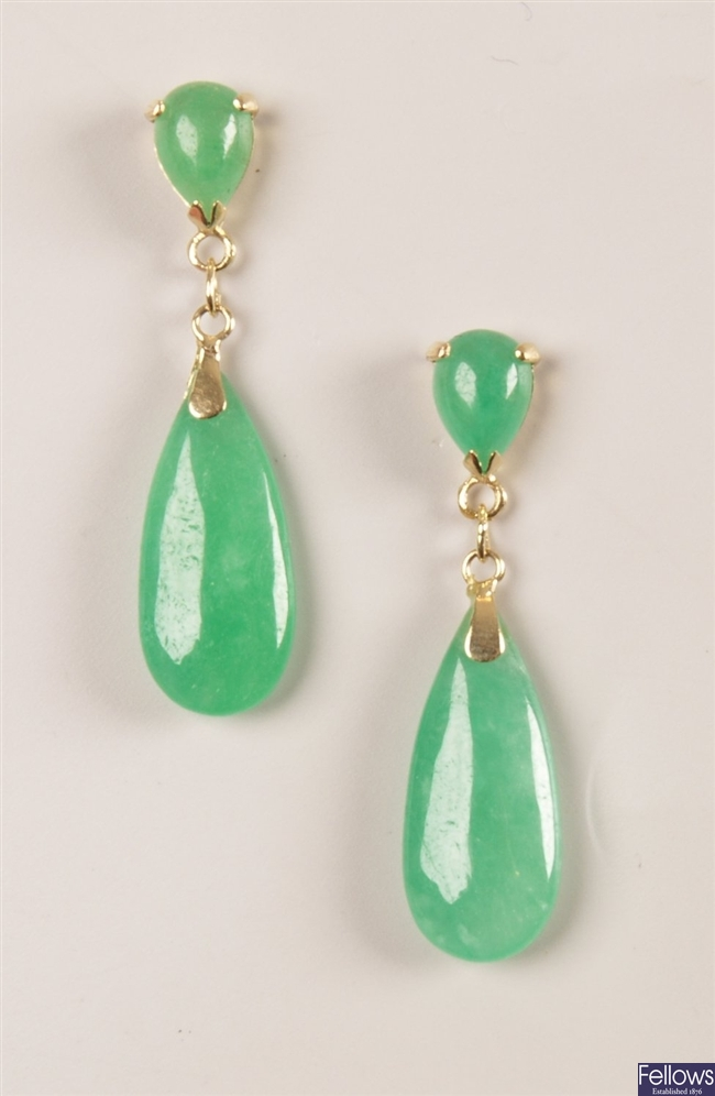Pair of 14ct gold jade dropper earrings with a