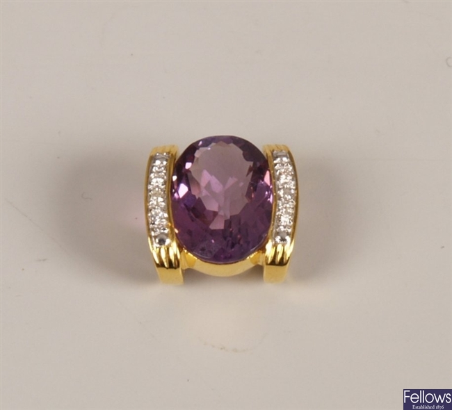 14ct gold amethyst and diamond pendant with a