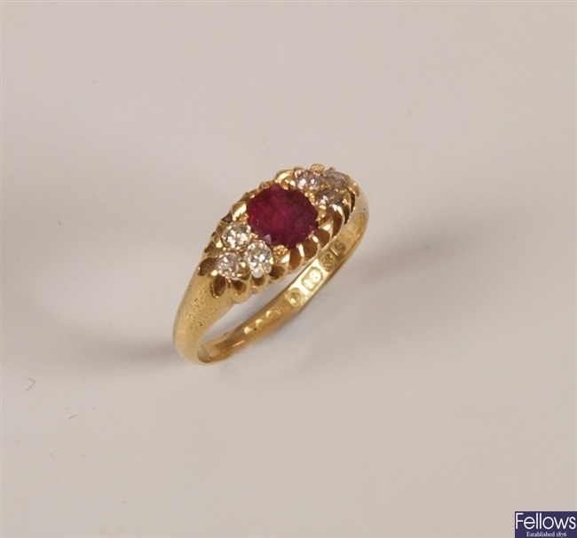 Edwardian18ct gold ruby and diamond set ring,
